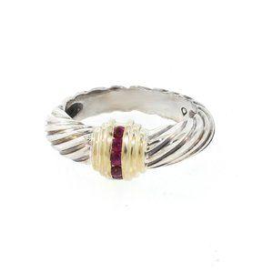 DAVID YURMAN RUBY CABLE RING 14K GOLD & STERLING